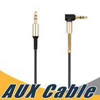 Wholesale Wholesale For Ipods - 3.5mm Aux Cable 90 Degree Right Auxiliary Car Audio Cable Male to Male Jack Cord with Steel Spring Relief For iPods iPhones Home Car Stereos