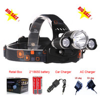 Wholesale High Power Zoom Headlight - 8000 Lumens Headlight 3 LED Cree XM-L T6+2R5 Head Lamp High Power LED Headlamp +2*18650 battery+EU US AU UK Charger+car charger
