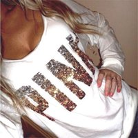 Wholesale Pink Sequin Sweater - Letter PINK Sequin Loose Sweater Pink Sweatshirts Woman Woman Spring Autumn Sexy Pink Letters Tops Shirts