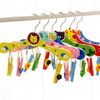 Wholesale Animal Baby Hangers - 28cm Baby Hangers for Clothes Wooden Animal Cartoon Children Kids Slip-resistant Clothing Rack Closet Garment Organizer ZA3457