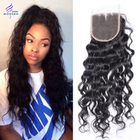 Wholesale 4x4 Swiss Lace Closure - Wet and Waavy Brazilian Human Hair Lace Closure Natural Black 1B Brazilian Virgin Hair Weave 4x4 Swiss Lace Closures Can be Dyed