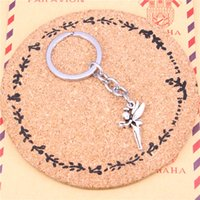 Wholesale Metal Tinkerbell Charms - New charming novelty Silver Color Metal Vintage Angel fairy tinkerbell Key Chains Accessory & Chrome plated Key Rings