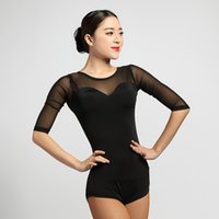 Wholesale latin dance competition costumes - 2017 New Latin dance sexy leotard Jacobs long sleeved jacket adult just Tango Waltz Rumba Samba modern T-shirt costume competition clothing