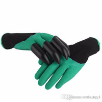 Wholesale 2017 Garden Genie Gloves with Claws Quick easy way to Gardening Builders Digging Planting Rubber Polyester with Color Box