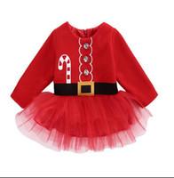 vestido floral de manga larga rojo al por mayor-4 estilos de niñas de Navidad rojo vestido de encaje de manga larga lindos niños de malla de algodón falda vestidos de tutú con flecos