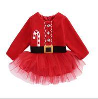 niedliche rote kleider schnürsenkel groihandel-4 stile Weihnachten mädchen rot langärmeliges spitzenkleid niedlich kinder baumwolle mesh rock gesäumten tutu kleider