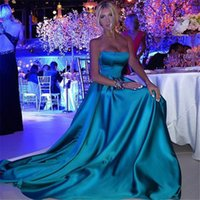 Wholesale Cheap China Blue Lights - Special Occasion Dresses Robe De Soiree Longue 2017 Blue Satin A Line Cheap Long Evening Dresses Made in China