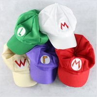 Palla di Cosplay Super Mario Bros Anime Gioco Caps Halloween Cotton Hip Hop Berretti Cappello Super Mario e Luigi Cappellini 5 colori