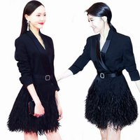 Wholesale Women Dresses Blazers - Women Feather Embellished Long Blazer Designer Style 2017 Runway Brief Black Blazer Tassel Dresses Coat Outerwear