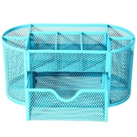 Wholesale ASLT cmNew Multifuction Stationery Desk Organizer cells Metal Mesh Desktop Office Pen Pencil Holder Study Storage