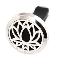 Wholesale New Car Perfume - New Lotus Flower 30mm Aromatherapy Essential Oil surgical Stainless Steel Pendant Perfume Diffuser Car Locket Include 50pcs Felt Pads