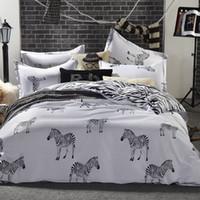 Wholesale zebra bedding king - Wholesale-black and white zebra bedding set King queen double full twin size duvet cover flat sheet pillow case 3 4pcs bed linen set