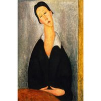 mujer retrato pinturas al óleo al por mayor-Arte abstracto de mujer Retrato de una mujer polaca-Amedeo Modigliani retrato pinturas al óleo pintadas a mano Lienzo