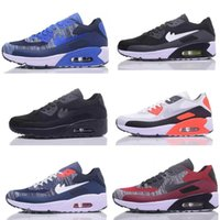 Wholesale American Flag Canvas Shoes - Air 90 HYP PRM QS Men flight line Running Shoes Air 90s American Flag Black White Navy Blue Gold Silver X-A-M Sport Trainers