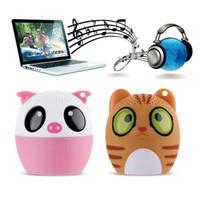 Wholesale Dog Buttons - Mini Wireless Bluetooth Speaker Cute Animal Cartoon Pig Dog Bear Pet Panda Pocket Silicone Remote Selfi self-timer Special Gift BM6
