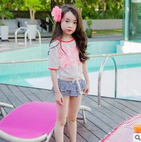 Wholesale Red Stripes Lace Skirt - Children swimsuit 2017 new girls lace hollow out half sleeve swimwear + red suspender+stripe falbala skirt kids spa swimming 3pcs sets T1546