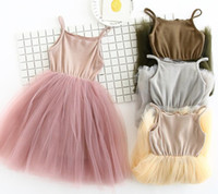 Wholesale Gauze Suspenders Dress - 5 color 2017 Korean style new arrivals Girls gauze princess dress high quality cotton blends fashion sling solid Dress free shipping