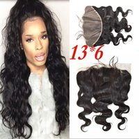 Wholesale malaysian body wave frontals - Lace Frontals Body Wave Indian Human Hair 13x6 Ear to Ear Frontal Lace Closure with Baby Hair FDSHINE