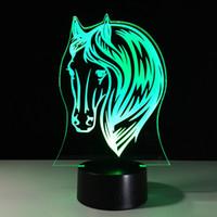 ingrosso lampade a testa cavallo-2017 3D Horse Head Illusion Optical Night Light 7 luci RGB DC 5V USB ricarica batteria AA spedizione gratuita