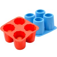 Wholesale Ice Mould Shot - 4-Cup Ice Cube Shot Shape Silicion Shooters Glass Freeze Mold Maker Tray party Freeze Mold XN839