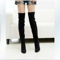 Half Boots black over the knee boots - US big size Fashion Jackboots Over The Knee Boots For Women Faux Suede Upper Stretch Fabric Slim Boots