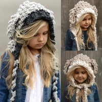 Kinder hüte kinder handgemachte häkeln niedlichen kaninchen ohr wrap caps herbst winter kinder wolle stricken warme kappe mädchen jungen cartoon hut R0335