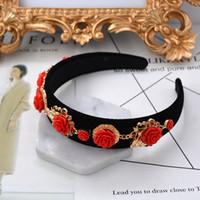 tiara metall blumen großhandel-Luxus Krone Barock Übertrieben Rose Blume Stirnband Metall Blume Hochzeit Tiaras Metall Blume Trendy Für Frauen