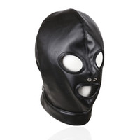 Wholesale Sexy Leather Pvc Bondage - Sex Erotic Faux Leather Holes Hood BDSM Bondage Leather Masks for Sex Bondage PVC Masks for Adults Play Games Sexy Toys Role Play Tools