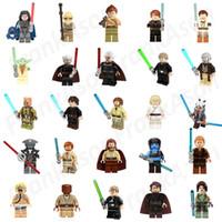 Wholesale Star Wars Jedi - 25pcs lot Star Wars Jedi Collection Figures Yoda Anakin Luke Skywalker Windu Obi-wan Kenobi Minifig Jedi Master Mini Building Block Figures