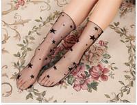Wholesale Wholesale Nylon Mesh Shorts - Women Socks Casual Fashion Comfy Sheer Silk Fishnet Socks Female Summer Ankle Crystal Lace Mesh Short Calcetines Socks Stocking Meias CW11