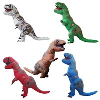 Wholesale Inflatable Carnival - OISK Inflatable Dinosaur T-Rex Costume Blow Up Walking Outfits - Adult One Size Fancy Dress Halloween Dress Suit - Battery Operated Fan