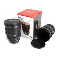 tasse de voyage d'acier inoxydable d'objectif de caméra achat en gros de-Caméra café lentille tasse tasse de voyage en acier inoxydable Caméra thermique avec couvercle de capot 420ml noir DHL gratuit