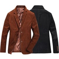 Wholesale Business Man Winter Coat Black - Fashion Brand Male Winter Business Suit Jacket Coat Retro Style Slim Fit Corduroy Blazer Men Casual Elbow Design Black Brown