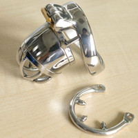 Wholesale stainless sex cage for penis resale online - Male Chastity Device with Anti off Spike Ring Stainless Steel Cock Penis Cage Chastity Belt BDSM Sex toys For Men