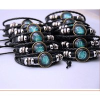 Wholesale Black Moonstone Beads - Twelve stars bracelet jewelry Europe and the United States hand beads jewelry diy constellation moonlight gem foreign trade sources