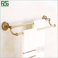Wholesale Brass Towel Rod - FLG 100% Brass Bathroom Double Rods Towel Bars Rack Wall-Mounted Antique Towel Hanging Shelves High Quality,Free Shipping 80108