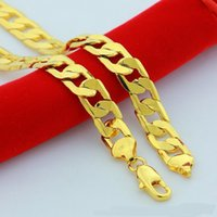 Wholesale Wholesale Solid Yellow Gold Jewelry - 6mm Yellow Solid Gold Filled Cuban Chain Necklace Thick Mens Hip Pop Jewelry Womens Cool for dad boyfriend birthday gift