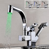 Wholesale Square Faucet Handles - Tall ­High Arc Basin Faucet Deck Mounted Kitchen Square and Flat Tube LED Faucet with Single Handle One Hole Nickel Brushed