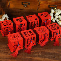 Wholesale Wholesale Tassel Wood - Wood Chinese Double Happiness Wedding Favor Boxes Candy Box Chinese Red Classical Casamento Sugar Case With Tassel ZA3058