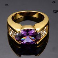 Wholesale yellow gold filled ruby ring resale online - Male Party Jewelry Purple Rings for Men Women KT Yellow Gold Filled Purple Zircon Ring Wedding Jewelry Gifts