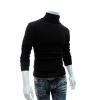 Wholesale Knit Sweaters For Winter Mens - Wholesale- 2016 Winter Mens Turtleneck Sweaters Black Pullovers Clothing For Man Cotton Knitted Sweater Male Sweaters Pull Hombre XXXL 50