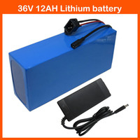 Wholesale 36v lithium battery - Rechargeable 36V 12AH Electric Bike battery 36V 500W Lithium ion Bike Battery with PVC case 15A BMS 42V 2A charger Free shipping