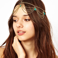 Wholesale Headdress Turquoise - Gold Tiaras Women Head Turquoise Headpiece Lady Chain Jewelry Party Hair Band Accessories Girls Headband Headdress