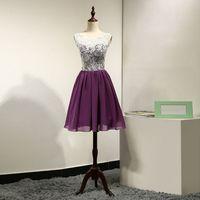 Wholesale Purple Chiffon Prom Dresses - 2017 New Purple Prom Dresses A-Line Jewel Capped Sleeve Lace Pleats Zipper Back Knee-Length Chiffon Real Pictures Short Evening Dresses