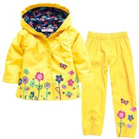 Wholesale Boy Raincoats - 2017 Autumn Winter Girls Clothes Sets Raincoats Jacket+Pants 2pcs Kids Clothes Girls Sport Suit For Boys Children Clothing