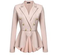 Wholesale Shoulder Blazer Women - Womens Blazers Spring 2016 Ladies Blazer Designs Black Off The Shoulder Fold Over Double Breasted Fitted Blazer JBL1120