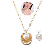 Wholesale Beautiful Shell Jewelry Wholesale - Rose & Imitation Platinum Necklace Beautiful Shell Shaped Artificial Pearl Elegant Pendant Necklaces for Women Cheap Jewelry Christmas Gift