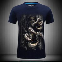 Wholesale Fat Clothing - Short Sleeve mens summer tees shirt Devil Death Skeleton printing plus size fat streetwear designer t shirt print clothes 3d tshirts for men