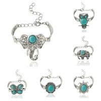 Wholesale Lucite Elephant - Charm Bracelets for Women 2016 Vintage Designer Retro Style Bracelet Turquoise Elephant Owl Boho Bracelets Jewelry Charm Bracelets Bangles