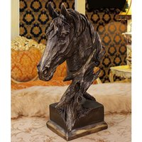 "Wholesale Office Antiques - Resin Material - Horse Head Bust Large Imitation Antique Bronze Color Sculpture For Home Office Bar Decoration Adornment - 41cm   16"" Inches"